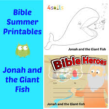 summer bible printables and activities from 4soils jonah and the