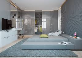 cool blue bedroom wall paint ideas with wood bed furniture and