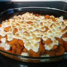 sweet potatoes are parboiled and then baked with a sweet sauce of