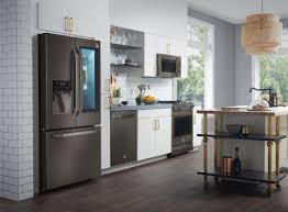 gray kitchen cabinets with black stainless steel appliances black stainless steel appliances are the next big trend for
