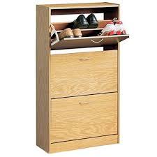 shoe storage cabinet 3 flip door 12 pair beech wood effect