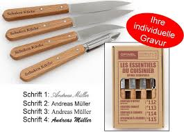 opinel kitchen knife set 4 piece stainless steel with engraving