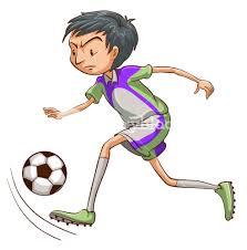 sketch of soccer player kicking ball vector illustration royalty