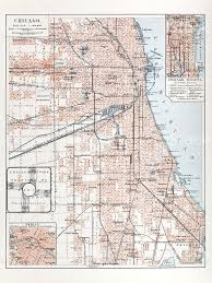 Illinois Cities Map by Engraving City Map Of Chicago From 1882 Stock Vector Art 182252144