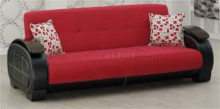 Modern Furniture Depot by Black Leatherette U0026 Red Fabric Modern Sofa Bed W Options