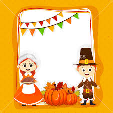 greeting card design with pilgrim and boy for happy