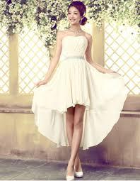 elegant high low chiffon sheath strapless beach wedding dresses