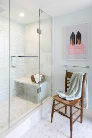 Waterfall Glass Tile Waterfall Shower Bench Transitional Bathroom Rebecca Hay