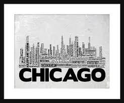 Chicago Map Art by Chicago Skyline Word Art Typography Typographical Print Poster