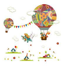 online get cheap balloons wall decals for nursery aliexpress com removable hot air balloon wall stickers cartoon animals bear giraffe cloud wall decal for baby child