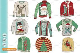 ugly christmas sweater clip art illustrations creative market