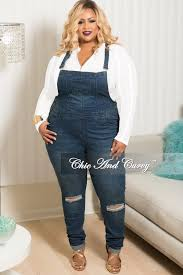 plus size denim jumpsuit plus size distressed overalls in denim chic and curvy