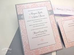 Invitation Card With Rsvp Blush Pink U0026 Silver Damask Elegant Wedding Invitations Citlali