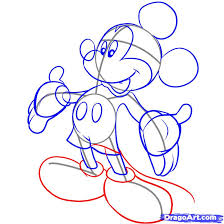 draw mickey step step disney characters cartoons