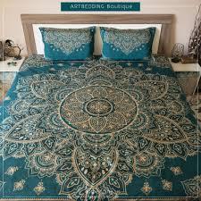 Indie Bedspreads Mandala Art Bedding Dark Teal U0026 Gold Mandala Duvet Cover Set