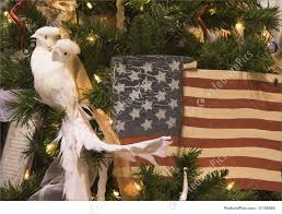 doves and american flag ornament photo