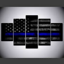 Thin Blue Line Flag Aliexpress Com Buy 5 Panels Canvas Print Wall Art Picture Poster