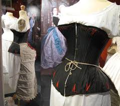 vire costume 1875 corset cuirasse in black satin with 34 bones worn a day