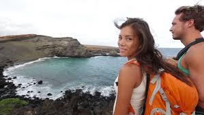 Hawaii travel backpacks images Hiking travel couple tourist on hawaii hike tourist backpackers jpg