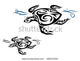 turtle ocean water tribal style tattoo stock vector 100122194