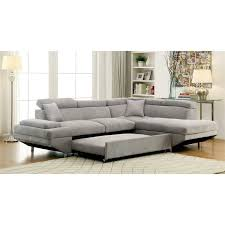 Convertible Sectional Sofa Bed by Furniture Of America Sleet Flannelette Convertible Sectional In