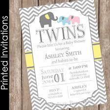 printed elephant twins baby shower invitation twin twin