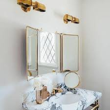 Tri Fold Bathroom Mirror by Brass Trifold Bath Vanity Mirror Design Ideas
