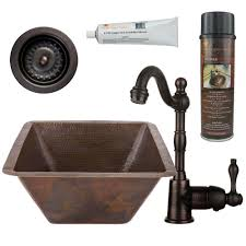 Hammered Copper Sink Reviews by Premier Copper Products All In One Dual Mount Copper 17 In 0 Hole