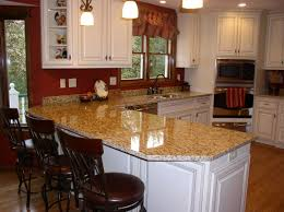 decorating kitchen island with santa cecilia granite countertop