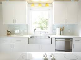 Glass Kitchen Backsplash Ideas Kitchen White Glass Tile Backsplash Countertop With Dark Wood