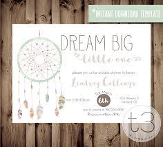 instant download baby shower invitations instant download dreamcathcer baby shower invitation diy pdf boho