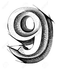 sketch numerals hand drawn number nine royalty free cliparts
