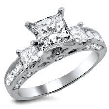 princess cut 3 engagement rings noori 14k white gold 1 1 2ct tdw princess cut 3