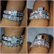 zales outlet engagement rings 3 ct t w princess cut three bridal set in 14k
