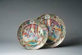 canton porcelain two export porcelain canton famille armorial plates