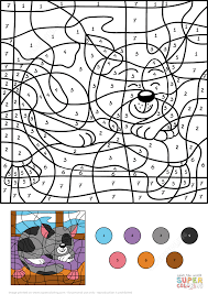 cat color by number kids coloring europe travel guides com