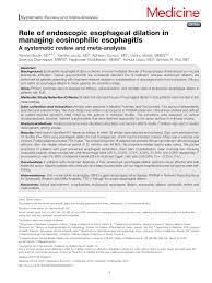 Apogee Physicians The Best In Role Of Endoscopic Esophageal Dilation In Managing Eosinophilic