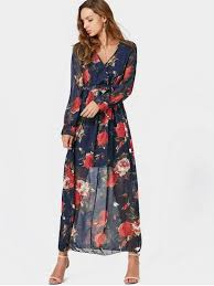 maxi dress v neck floral print belted maxi dress floral maxi dresses m zaful