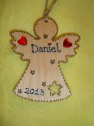wooden personalised angel fairy christmas tree hanger decoration