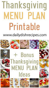 thanksgiving meal plan printable tons of recipes daily dish