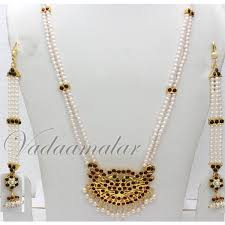 long pearl chain necklace images Kuchipudi dance jewellery indian long pearl necklace kemp stones jpg