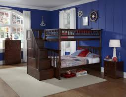 white bunk beds with stairs rack before the blue wall matched twin
