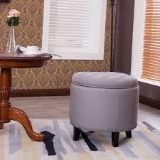 nailhead round tufted storage ottoman large footrest stool coffee