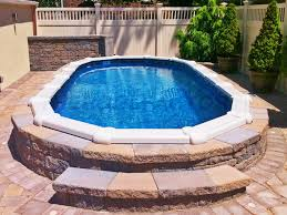 outdoor images of above ground pool decks landscaping around
