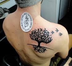 with flying birds tree of on right back shoulder