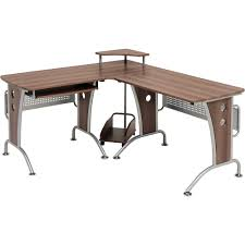 modern l shaped corner computer desk with particle wood eased edge