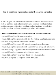 Teacher Assistant Resume Objective Top8certifiedmedicalassistantresumesamples 150403192830 Conversion Gate01 Thumbnail 4 Jpg Cb U003d1428107359