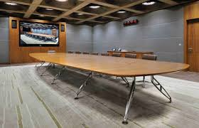 sophisticated creative meeting room with cool conference table and