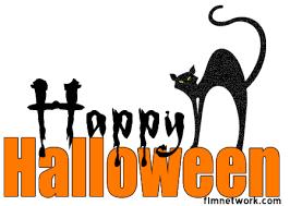halloween black cat happy halloween glittering clip art