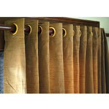 pair of gold brown silk curtain panels 26x84